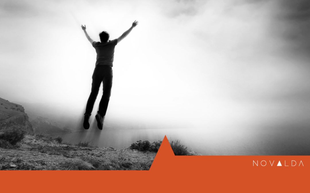 Man leaping represents exploring edges in leadership and the brink of change.