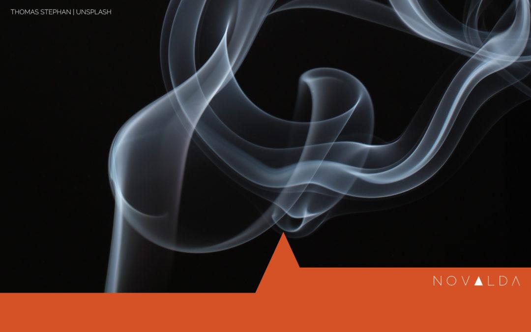 Smoke rising reigniting after work burnout