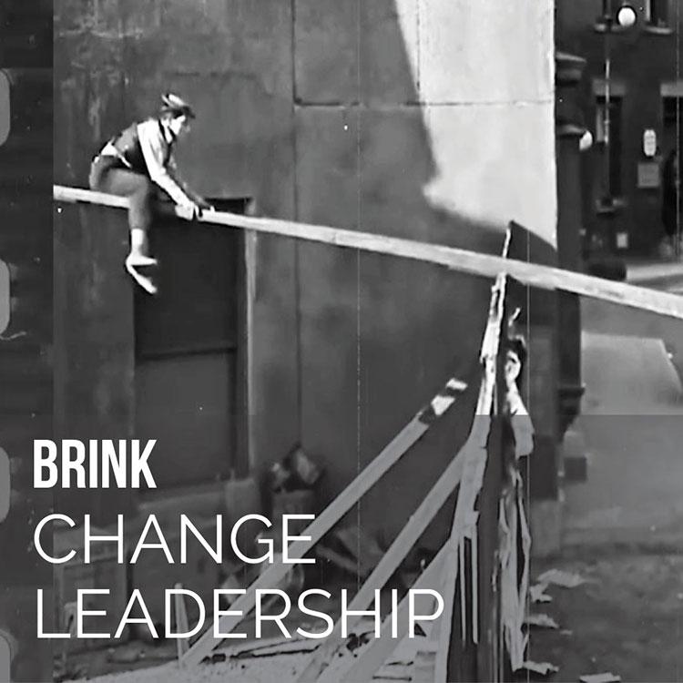 Brink Change Leadership Buster Keaton balances on board